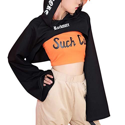 Birdfly Fashion Flare Sleeve Short All-Black Tunics Above Th