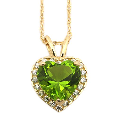 (Beauniq 14k Yellow Gold Simulated Peridot and Cubic Zirconia 9mm Heart Halo Pendant Necklace - 18