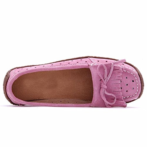 Moonwalker Women's Suede Leather Slip-On Loafers with Fringe Pink mhXkeGf1Q