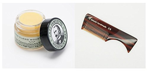 Moustache Wax (Ylang Ylang Scent) and Deluxe Handmade Moustache/Beard Comb Kit by Unknown