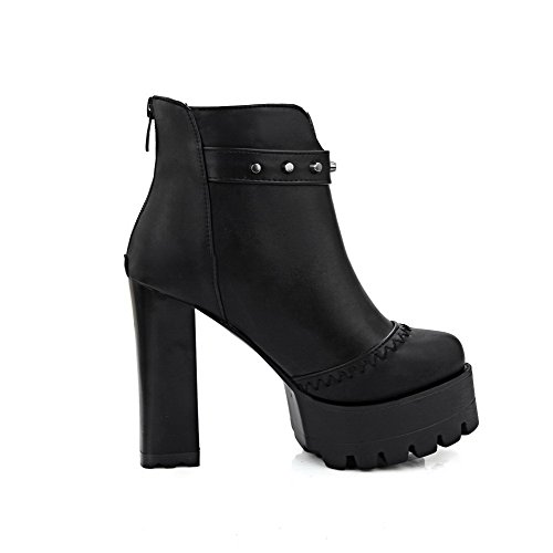 Allhqfashion Women's Round Closed Toe High-Heels Soft Material Low-top Solid Boots Black KdcLTv