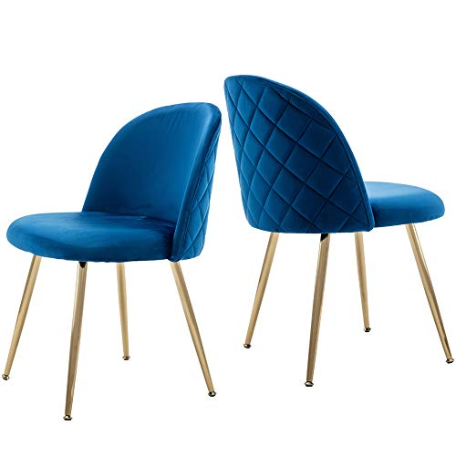 (Modern Velvet Dining Chairs, Upholstered Living Room Leisure Chairs, Gold Accent Chairs for Dining Room/Kitchen/Vanity, Set of 2 - Blue)