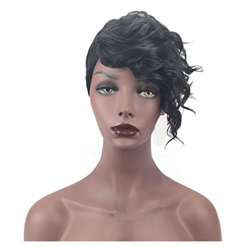 Costumes With Short Black Bob (Short Wigs, Inkach Black Women Curly Bob Straight Synthetic Hair Wigs (Black))