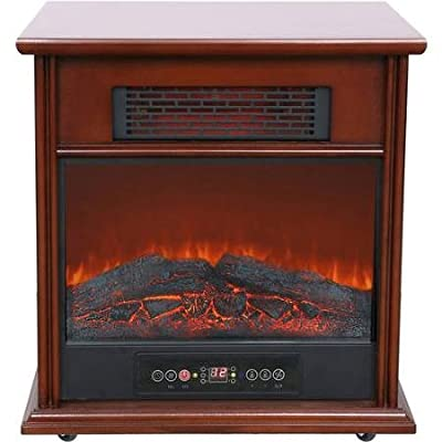 Generic 1500w Hearth Trends Classic Infrared Electric Fireplace with LED Digital Display Flame Effect, Chocolate