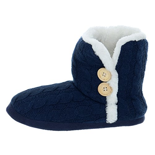 Ladies Cable Knit Bootie Style Winter Warm Slipper With Hard Non Slip Soles New Navy Q0QP8Z