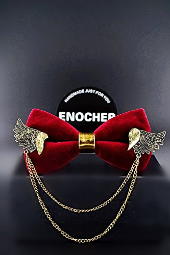 Velvet Metal Wings Chain Bow Tie, Men Bow Tie, Self Tie Bow Tie, Bow Tie For Men, Gentleman, Business, Wedding, Party, Gift, Fashion, High-end