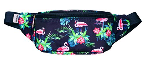 (WODODO Flamingo Pattern Print Fashion Cute Fanny Pack Women Rave Festival Party Hiking Travel Hip)