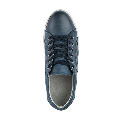 Travelin Nice Leather Low Damen Sneaker Leder   Schnürhalbschuhe Women   Freizeitschuhe   Lederschuhe in Weiss, Cognac & Blau Dunkelblau