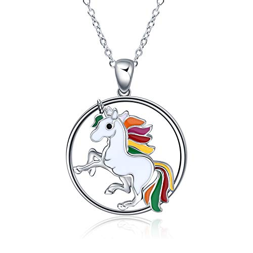 LUHE Unicorn Necklace Rainbow Unicorn Necklace Pendant Jewelry Gifts for Girls Best Friend Granddaughter Christmas Birthday Gifts (Unicorn Necklace)