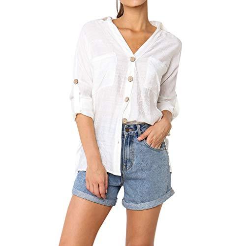 Rakkiss_ Women Vest Casual Long Sleeve Loose Tunic Blouse Shirts Blouse White ()
