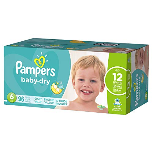Diapers Size 6, 96 Count - Pampers Baby Dry Disposable Baby Diapers, Giant