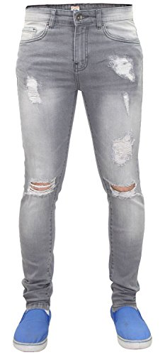 Denim Skinny Super Ripped Hombres Enzo Fit Pantalones Grey EZ383 estilo Jeans Stretch w8qW1F1fnp