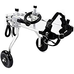 Dog Pet Wheelchair Best Friend—Dog Wheelchair, Size for Small Dog Adjustable Stainless Steel Cart Pet/Cat Dog Wheelchair Hind Leg Rehabilitation for Handicapped Dog, 2-Wheel Dog Pet Stroller