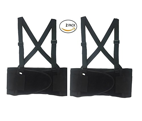 BRUFER 216111 2-Pack Back Support Belt, Elastic with Suspenders, Black (Large) by BRUFER Quality Products (Image #1)