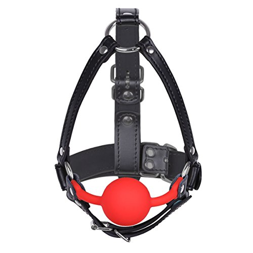 Ball Harness - iiniim Adjustable Leather Metal O-Rings Harness Silicone Mouth Ball Gag for Women Adult Red One Size