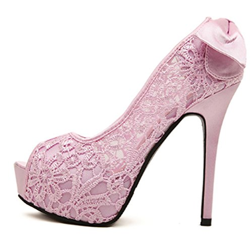 Aisun Women's Sexy Lace Bow Knot Peep Toe High Platform Stiletto High Heels Sandals Pink yi8utf3e0m