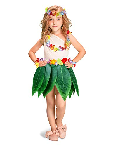 Fortuning's JDS Boys Girls Hawaiian Flowers Leaf Grass Skirts Garland Costume Set Beach Party Favors (5Pcs)
