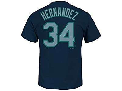 Seattle Mariners Felix Hernandez Blue Name and Number T-Shirt