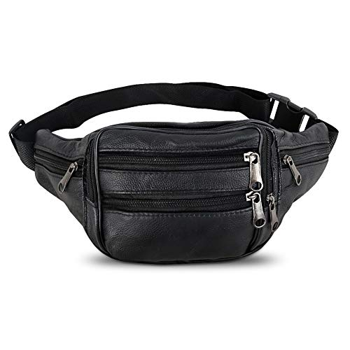 Beautier Cowhide Leather Large Size 7 Pockets Fanny Pack, Waist Pack with Adjustable Strap for Outdoors Workout Traveling Casual Running Hiking Cycling