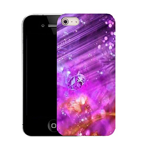 Mobile Case Mate IPhone 4 clip on Silicone Coque couverture case cover Pare-chocs + STYLET - purple abstract gem pattern (SILICON)