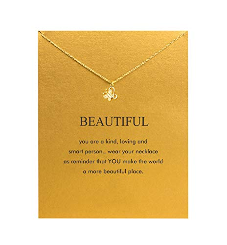 SEWEI Friendship Clover Necklace Unicorn Good Luck Elephant Cross Starfish Swan Necklace with Message Card Gift Card (Rhinestone Butterfly)