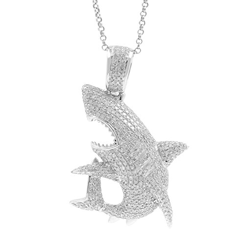2.39ct Diamond Shark Mens Hip Hop Pendant Necklace in 925 Silver by Isha Luxe-Hip Hop Bling