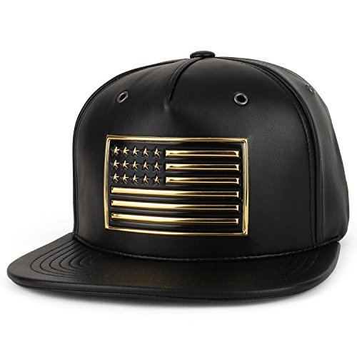 Trendy Apparel Shop High Frequency USA Flag Patch PU Leather Flat Bill Snapback Cap - Black Gold