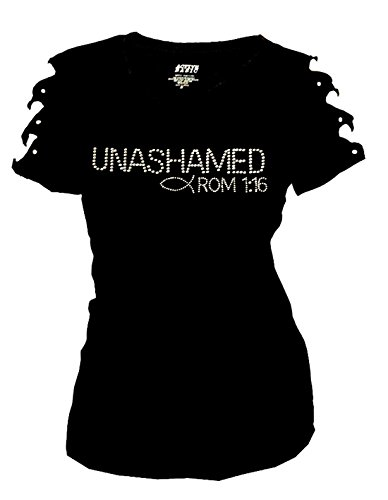 Unashamed Romans 1 16 Christian T-Shirt Angel Wings Back Ripped Cut Out ( 40f63362079e1