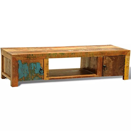 Tidyard Vintage Reclaimed Wood TV Cabinet Stand, Antique Handmade Side Table Cabinet with 2 Doors (Sheesham Wood Pedestals)
