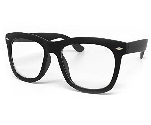 O2 Eyewear 97803 Oversized Vintage Classic Nerd retro Men Women Wayfarer Clear Lens Glasses (Clear Lens, MATTE - O2 Glasses