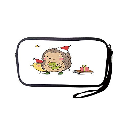 iPrint Neoprene Wristlet Wallet Bag,Coin Pouch,Hedgehog,Cartoon Hedgehog with Bird and a Christmas Tree Pulling Sled Holiday Themed Image,Multicolor,for Women and Kids