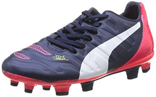 2 Enfant bright white Blau Plasma Bleu FG Puma de 3 01 Mixte Jr Football Peacoat Chaussures Evopower zqTcxE