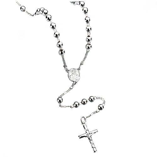 Meiligo Fashion Girls Boys Zinc Alloy Hip-hop Rosary Catholic JESUS Cross Prayer Beads Necklace Gold Silver Rosary Charm Jewelry ()