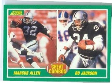 Bo Jackson and Marcus Allen football card (Los Angeles Raiders) 1989 Score #284 Great Combos