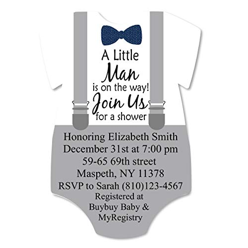 Custom Printed Little Man Baby Shower Blank Invites 25 Pack Custom Invitations with Envelopes for Baby Shower Bowtie and Suspenders Gray with Navy]()