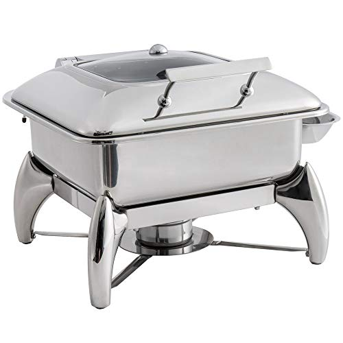 TableTop King Supreme 5 Qt. 2/3 Size Stainless Steel Induction Chafer with Glass Top, Soft-Close Lid, and Stand with Fuel Holder