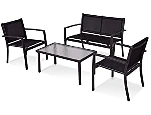 SKB Family 4 pcs Patio Steel Frame Coffee Table Furniture Set