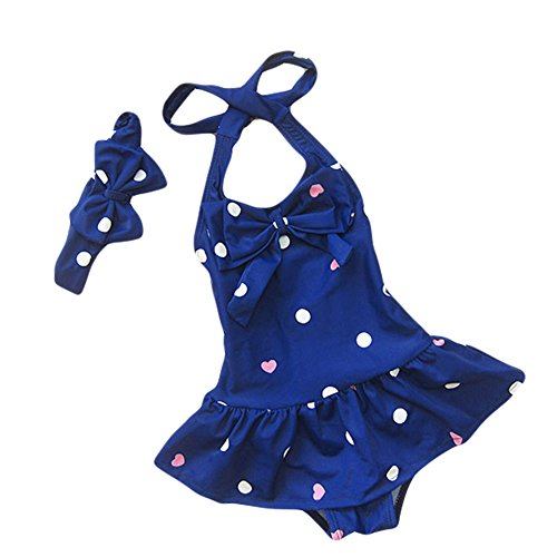 (Taiycyxgan Baby Toddler Girls One-Piece Swimsuit Bowknot Spots Swimwear With Headbands,Large / 5-6 Years,Navy)