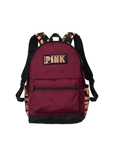 Victoria's Secret Pink Campus Backpack Maroon Deep Ruby Bling