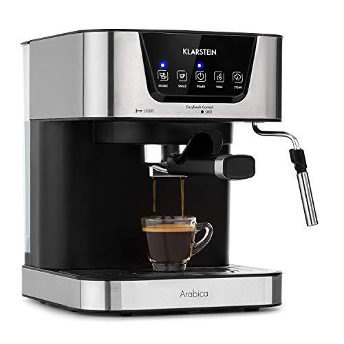 Klarstein Arabica Cafetera de espressos – 1050 W de potencia, 15 bares, Depósito de 1,5 litros, Pantalla LED digital…