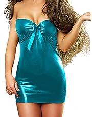 فستان لانجيرى قصير لارج تركواز ليكرا