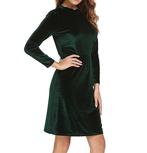 Manches Longues Élégante Des Femmes Burlady Velours Casual Robe Fourreau D'affaires Vert Foncé