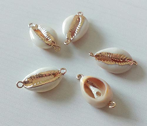 1 x Cowrie Shell Connector 17.5-19.5mm - Gold electroplated Cowrie Connector - Cowry Seashell Beads - Various Sizes - Boho Beads [GB050] ()