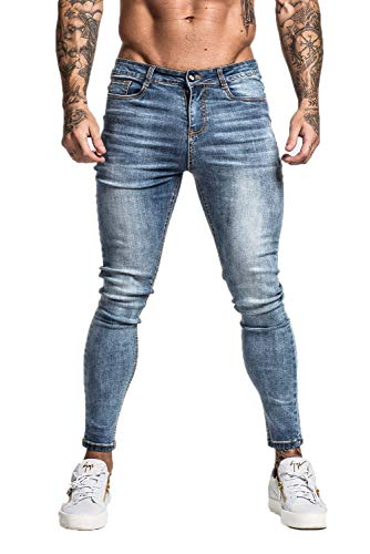 GINGTTO Mens Designer Jeans Blue Skinny Denim Jeans for Men Stretch Jean Pants 32