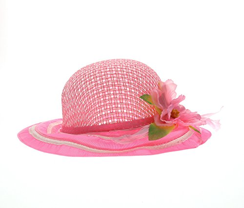 Mozlly Girls Pink Tea Party Sun Flower Hat - 7.75 inch - Item #110063 (Hat Party Toddler)