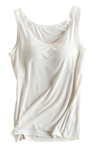 PinkWind Women's Essential Tank Top, Scoop Neck Basic Casual Camisole Active Workout Stretch Camisole Tanks with Built in Bra Padded Cami for Women - Cami Stretch Lace Camisole Bra
