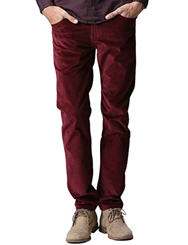 Match Men's Slim-Tapered Flat-Front Casual Pants (32W x 31L, 8052 Claret)