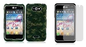 Cerhinu LG Motion 4G (MetroPCS) Premium Combo Pack - Green Army Camo Design Shield Case + Atom LED Keychain Light + Screen...