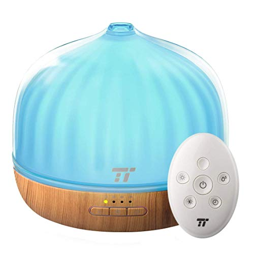 TaoTronics Diffusers for Essential Oils, 500mL Diffuser with Remote Control Up to 20 ft, Wood Grain Base, Cool Mist Humidifier, Dual Mist Mode, Sleep Mode, 14 Colors Lighting & Waterless Shut-Off