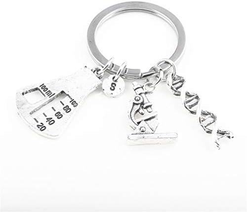 [해외]Toporchid 크리에이티브 현미경 트라이앵글 병 유전자 펜 던 트 열쇠 고리 / Toporchid Creative Microscope Triangle Bottle Gene Pendant Key Chain